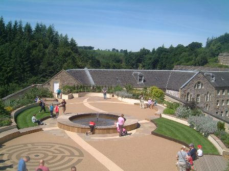 New Lanark Roof Garden with visitors